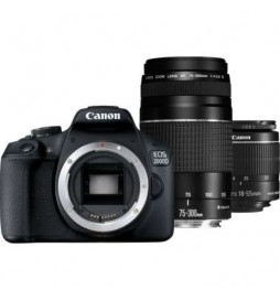APPAREIL PHOTO REFLEX CANON EOS 2000D+ + OBJECTIF REFLEX CANON EF50MM + OBJECTIF CANON EF 75-300MM