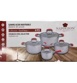 SET CASSEROLES INOX ROUGE NAPOLEON TOUS FEUX