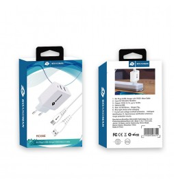 CHARGEUR RO&MAN  2A  2USB AVEC CABLE MICRO USB BLANC  RC06E