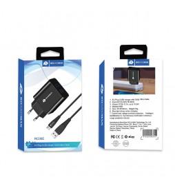CHARGEUR RO&MAN  2A  2USB AVEC CABLE MICRO USB NOIR  RC06E